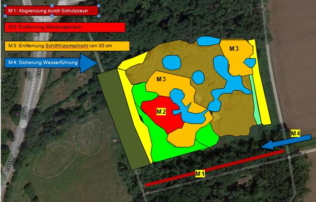 Angedachte Maßnahmen zur Sicherstellung der Erhaltungsziele Topographische Erfordernisse führten zu leichten Änderungen während der Maßnahme