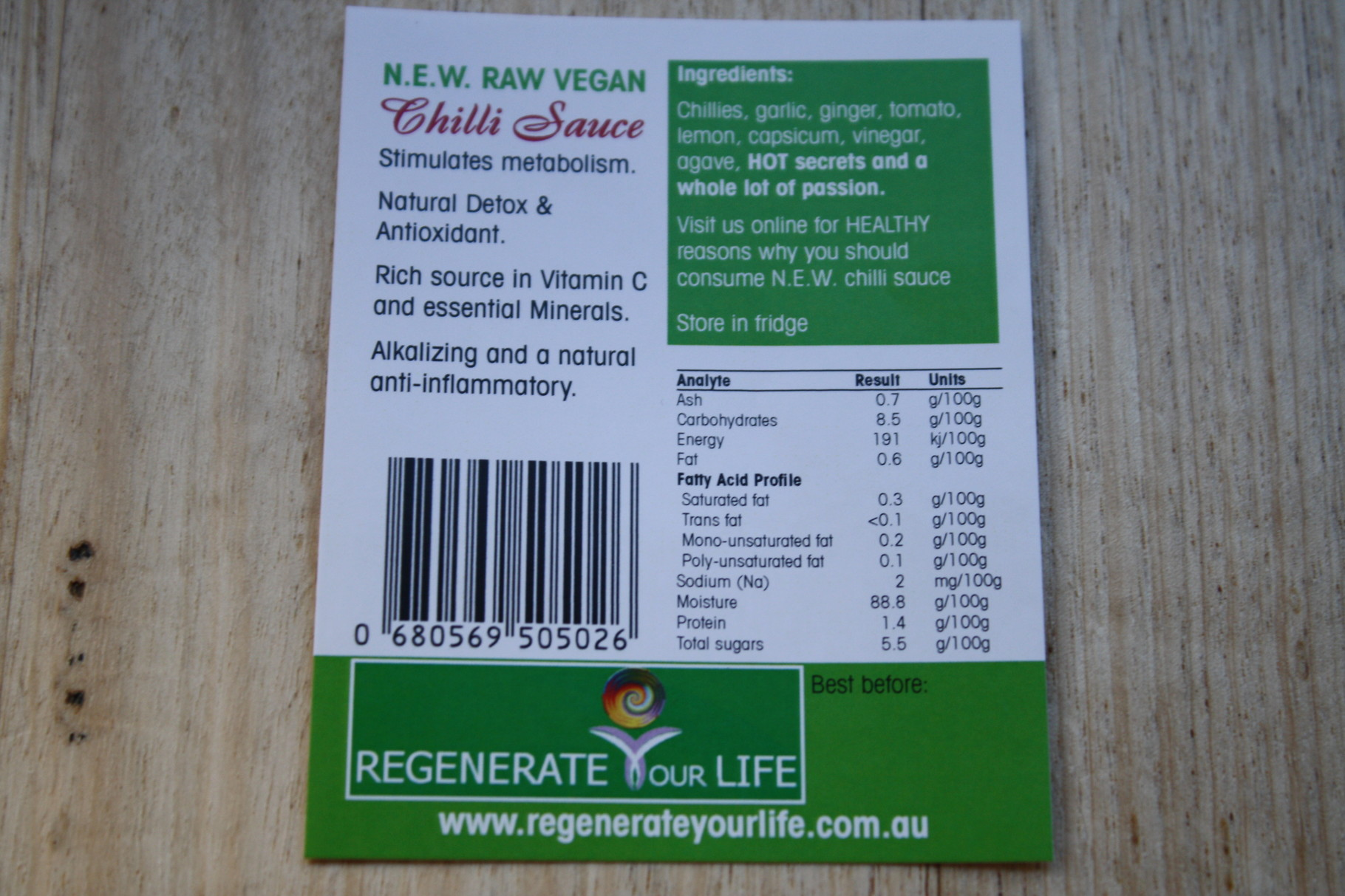 N.E.W. Raw Vegan Chilli Sauce Analysis