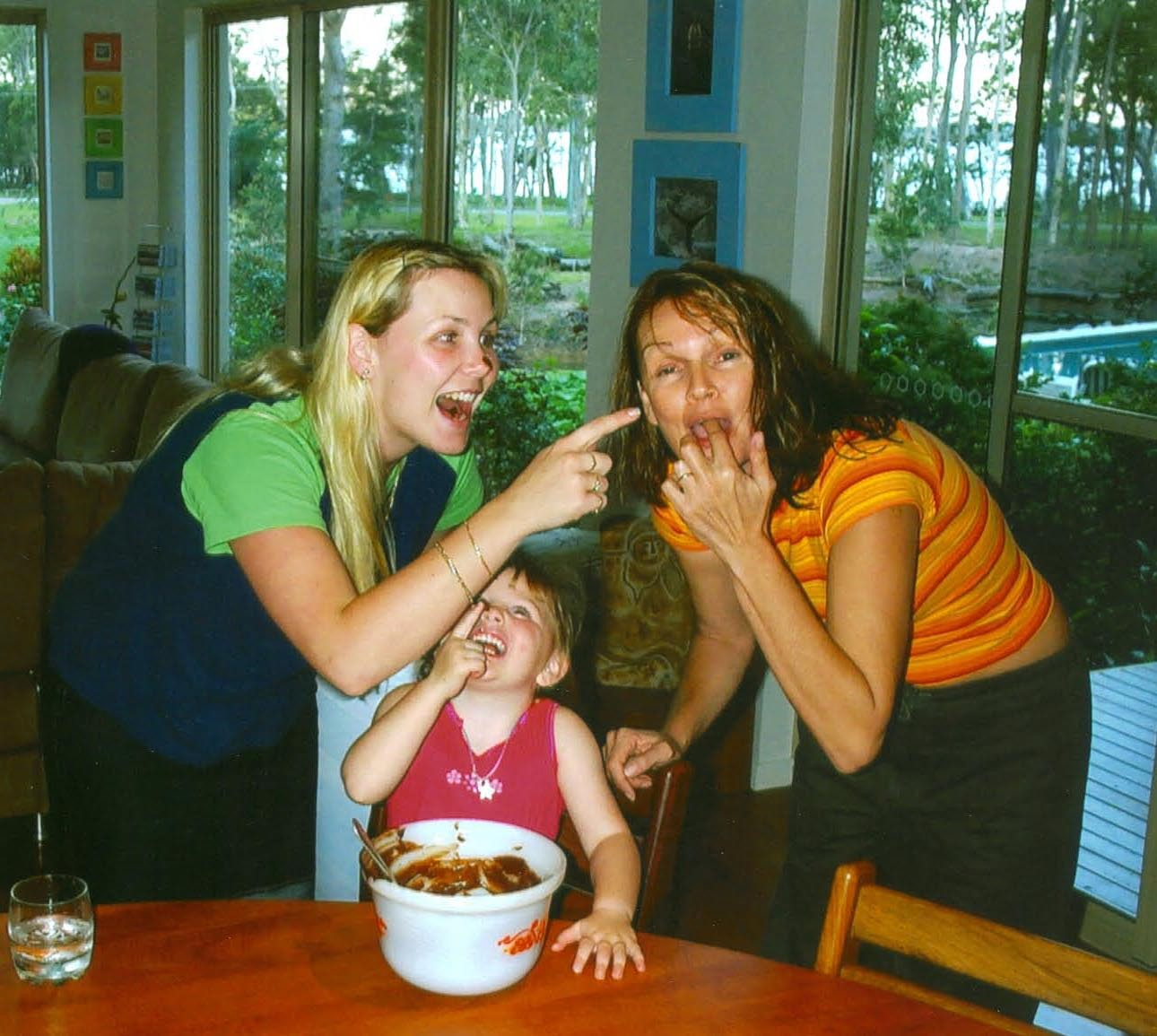 Three generations loving chocolate