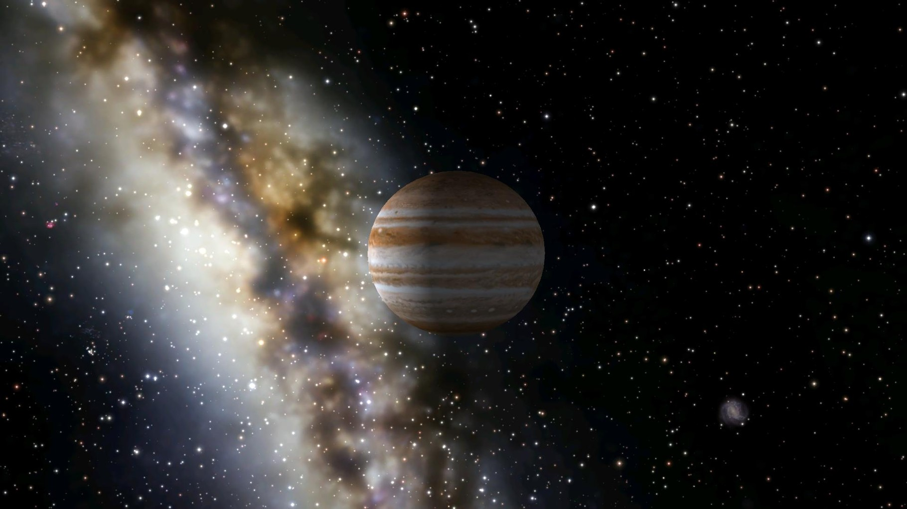 Hier seht ihr ihn nochmal und im Hintergrund einen Ausläufer unserer Milchstraße.