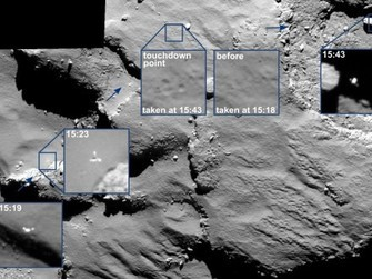 Philaes Abstieg auf den Kometen 67P/Churyumov–Gerasimenko (Fotos: ESA)