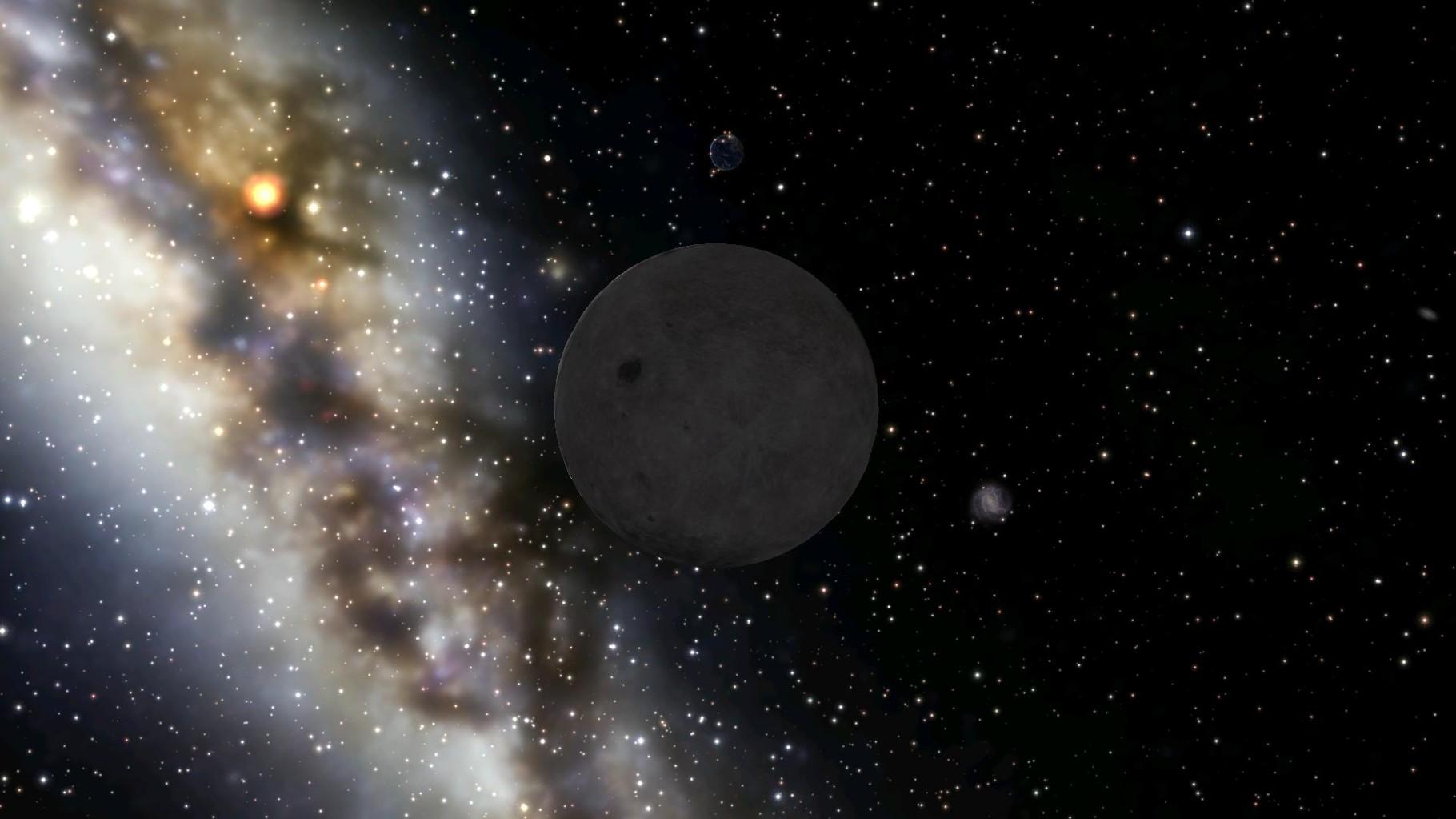 Das ist unserer Mond. Auf dem hat Lisa ihre Mondgärten. Dahinter taucht die Erde auf.