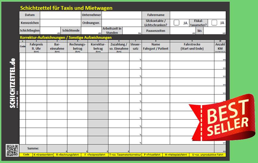 Schichtzettelblock 2 0 Fur Taxis Und Mietwagen Alte Version Taxi Shop Von Schichtzettel De