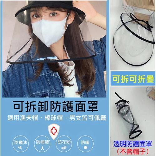 防疫用品-可拆式防護透明面罩(不含帽子)