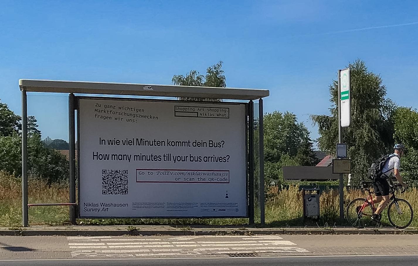"""Survey Art: Bus"", 2020, Anklamer Strasse/Koitenhaeger Landstrasse. Photo Credit: Rozbeh Asmani."