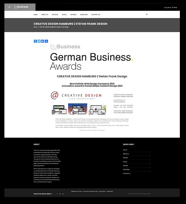 Best Holistic Web Design Company 2021 - Innovation Award in Social Media Content Design 2021