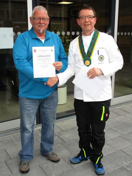 Dieter Siebenmorgen wurde für 40 Jahre Mitgliedschaft (Gründungsmitglied) geehrt