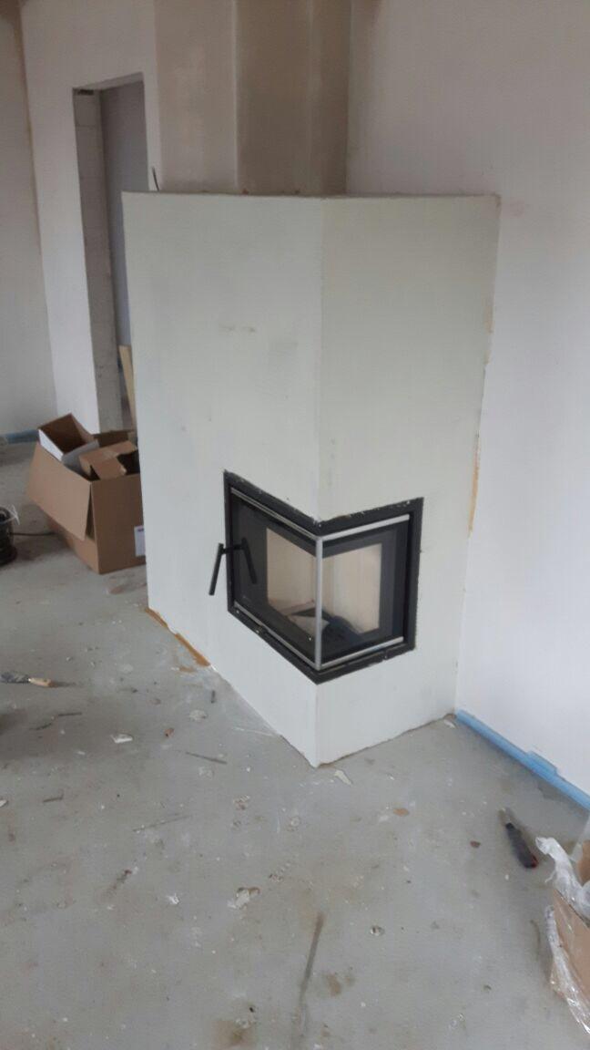 Kaminverkleidung gefertigt mit Kaminbauplatten von Grenaisol 40 mm stark