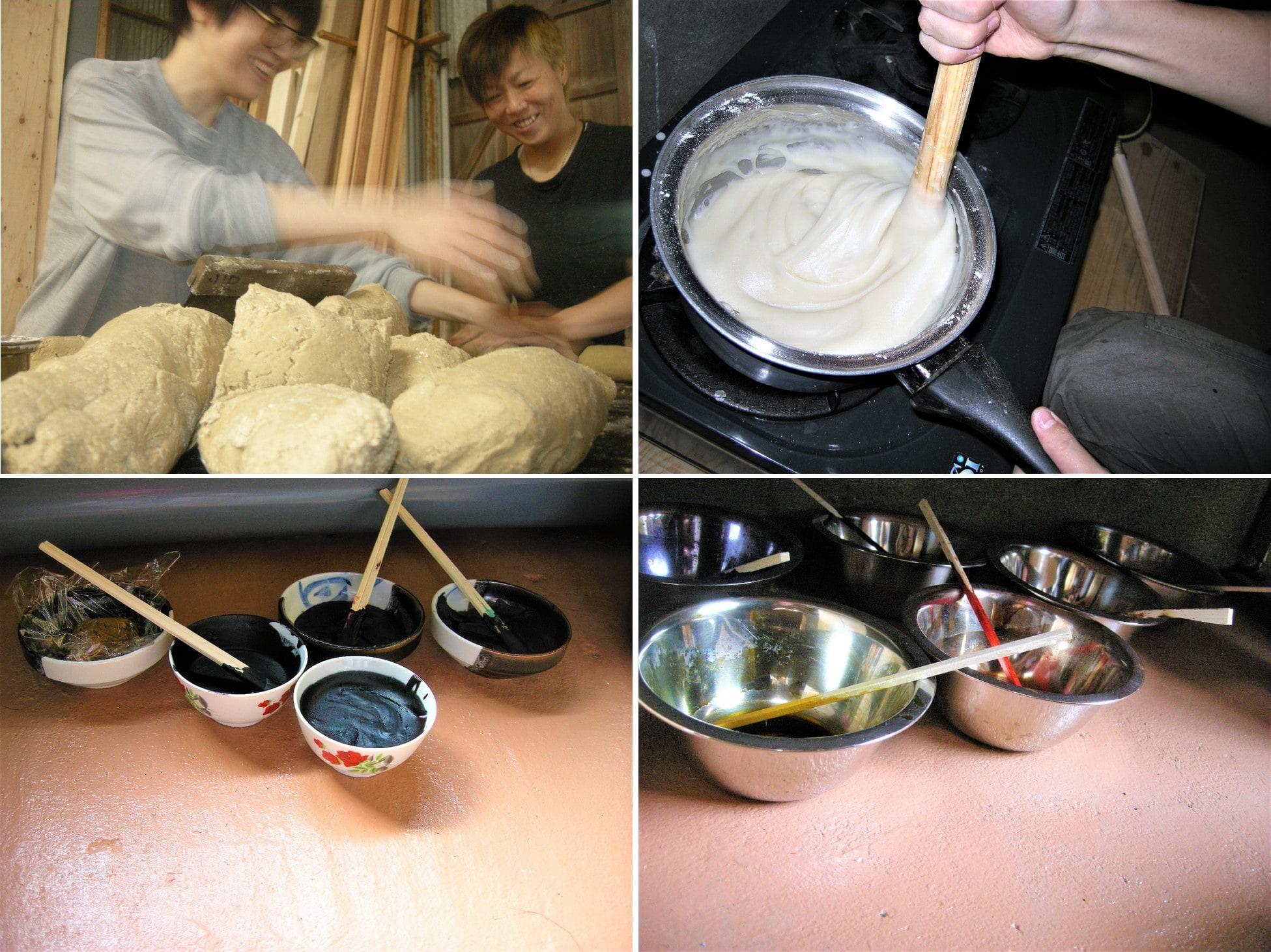 ⦅工程0 製作準備⦆型紙に柿渋を塗り乾かす。米糠・米粉・もち粉を混ぜて蒸し、目糊・地糊をつくる。
