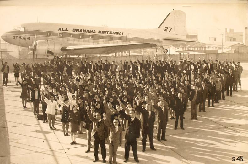 昭和45年。小名浜名店街屋上にて。当時は27の名店から構成されていた。