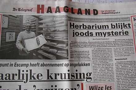 Krantenartikel in het dagblad De Telegraaf naar aanleiding van het joods herbarium