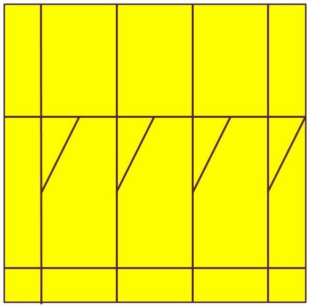 Premier trait des premiers losange : il part du milieu de chaque segment