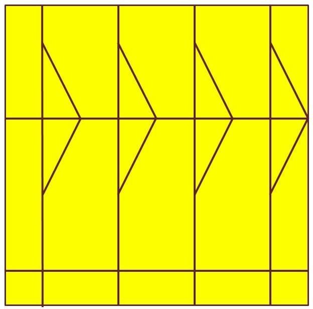 Second trait, symétrique au premier ; le losange commence à apparaître