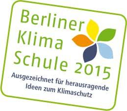 Die Robert-Jungk-Oberschule erhielt, wie schon 2012 die Auszeichnung Berliner Klimaschule.