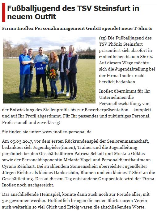 TSV Steinsfurt, Sponsoring, inoflex Personalmanagement