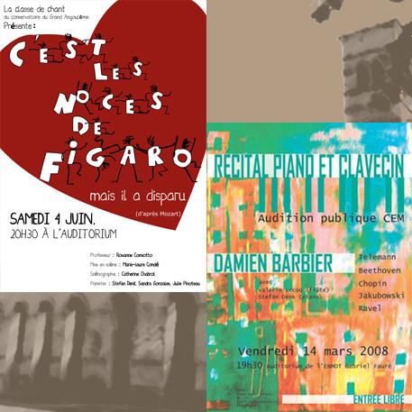 Affiche récital piano et clavecin Damien Barbier, c'est les noces de Figaro mais il n'est pas là, classe de chant du conservatoire d'Angoulême
