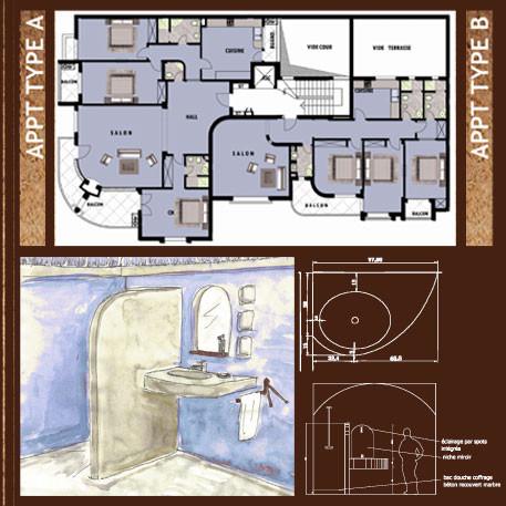 Plan étage type et perspective sur salle de bain