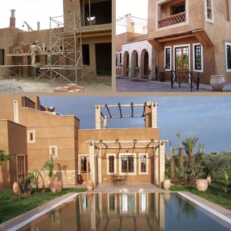 Photo villa en terre et briquettes artisanales avec piscine.