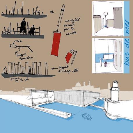 croquis aménagment J4 et proposition de mobilier urbain et signalétique pour les transports maritimes de proximité.