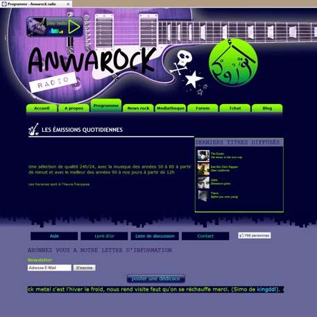 Capture d'écran de la page programme deu site de la webradio marocaine Anwarock