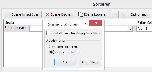 Excel - Nach Spalten sortieren