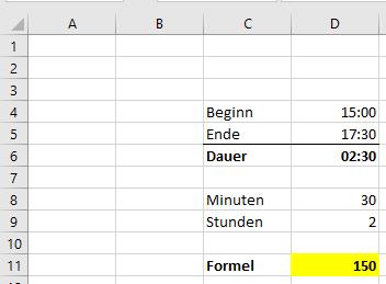Excel: Dauer in Minuten berechnen