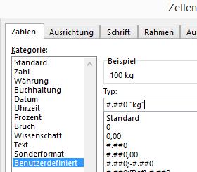 Excel Einheiten automatisch anhängen