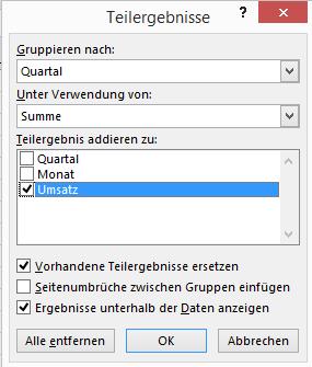 Excel: Zwischensumme bilden