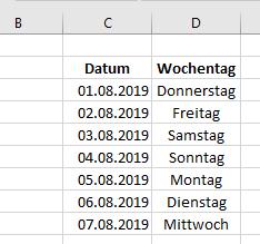 Excel nur Arbeitstage anzeigen, fortlaufend aus Datum