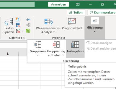Excel: Zwischensumme anwenden und bilden