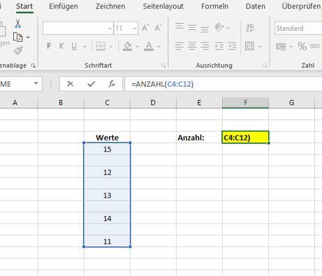 Excel zählen wenn Zelle nicht leer