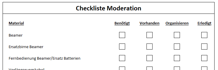 Checkliste Moderation - 3,00 Euro