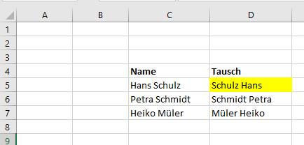 Excel Tipp: Vor- und Nachnamen tauschen