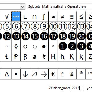 Unendlichkeitszeichen, Excel