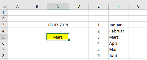 Excel: Monat aus Datum