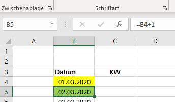 Excel - Kalenderwoche aus Datum