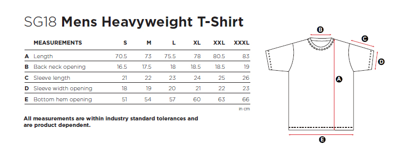 Maße Größen Size Mens Heavyweight T-Shirt  SG18