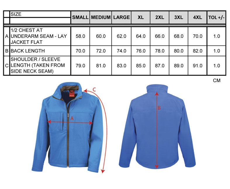 Maßtabellen ResultClassic Soft Shell Jacket RT121