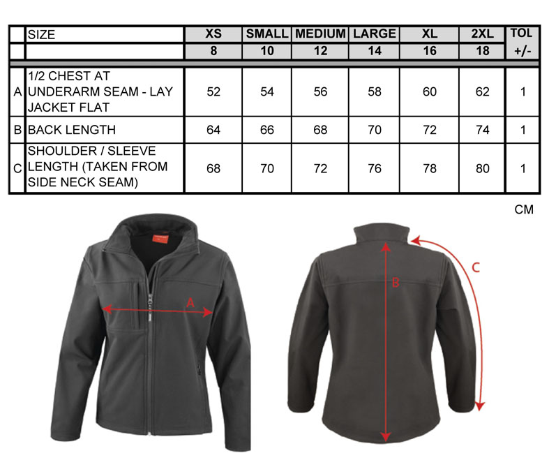 Maßtabellen ResultLadies Classic Soft Shell Jacket RT121F