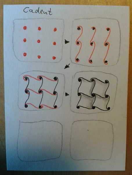 Das Muster für die erste Fläche in einzelnen Schritten - Cadent (offizielles Zentangle®-Muster)