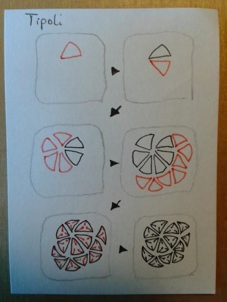 Das Muster für die dritte Fläche in einzelnen Schritten - Tripoli  (offizielles Zentangle®-Muster)