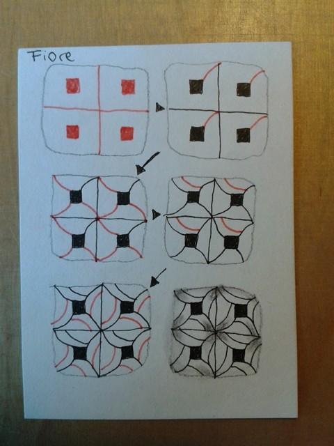 Das Muster für die vierte Fläche in einzelnen Schritten - Fiore (Muster von Jana Rogers, CZT)