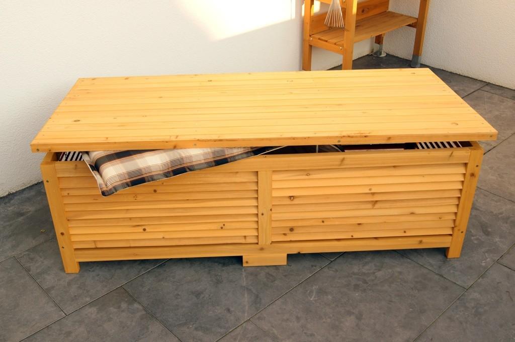 Banc de jardin bois massif coffre de rangement pictures to - Coffre rangement exterieur ikea ...