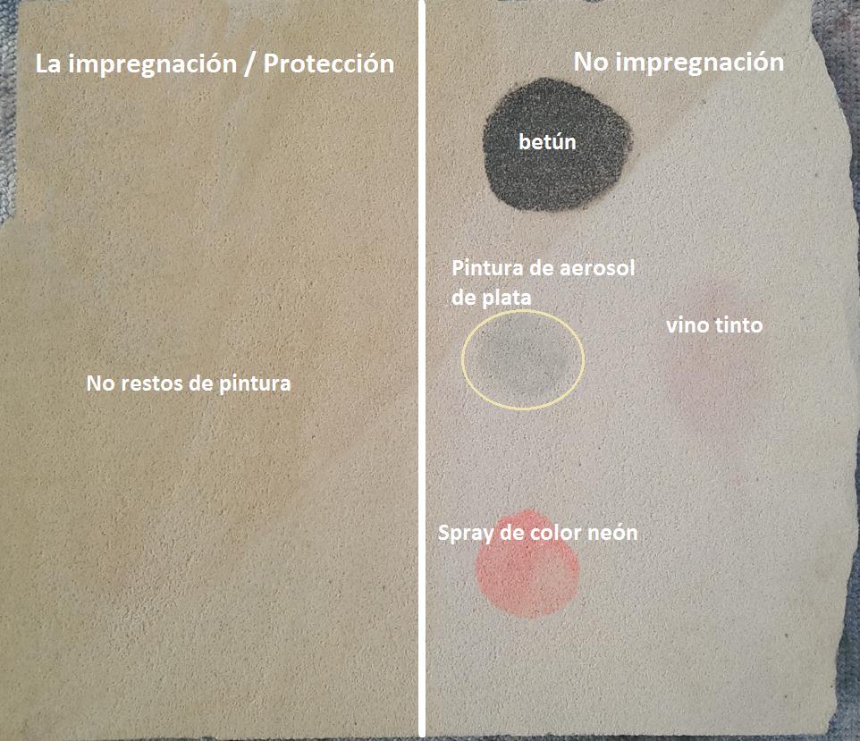 Sandstein nach erfolgter Reinigung. Die imprägnierte Fläche konnte rückstandslos gereinigt werden.