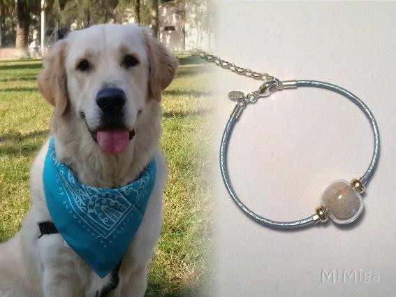artistic-jewel-mi-miga-bracelet-leather-turquoise-sterling-silver-gold-glass-pearl-animal-pet-hair-dog-goku