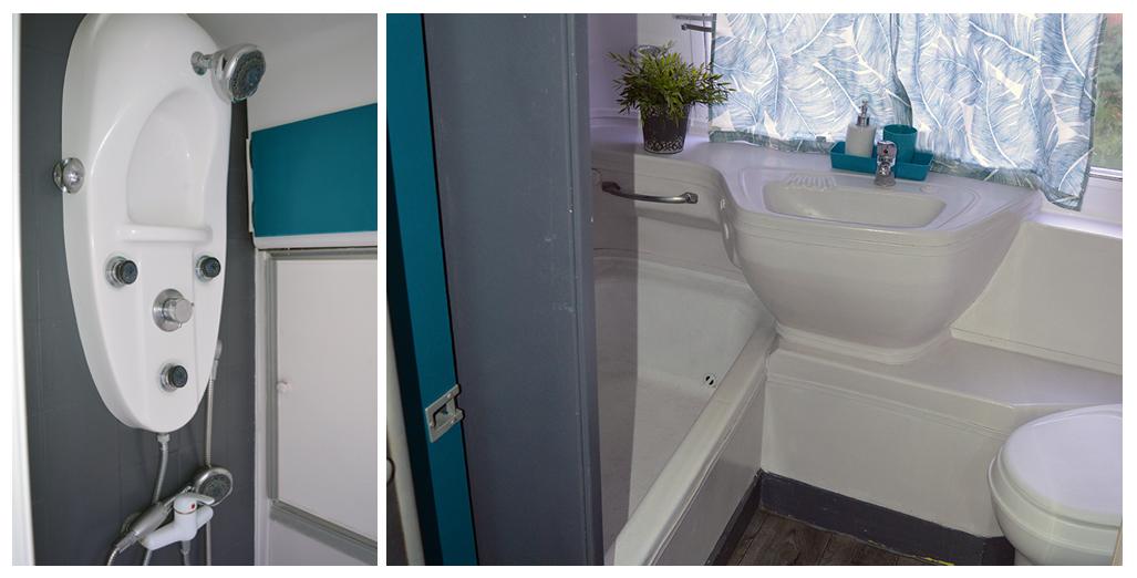 Salle de bain avec douche et WC du gite en caravane Airstream en Normandie