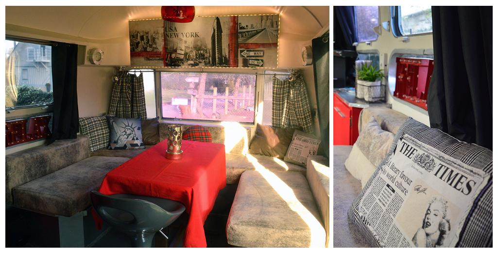 Coin repas et salon du gite en caravane Airstream en Normandie
