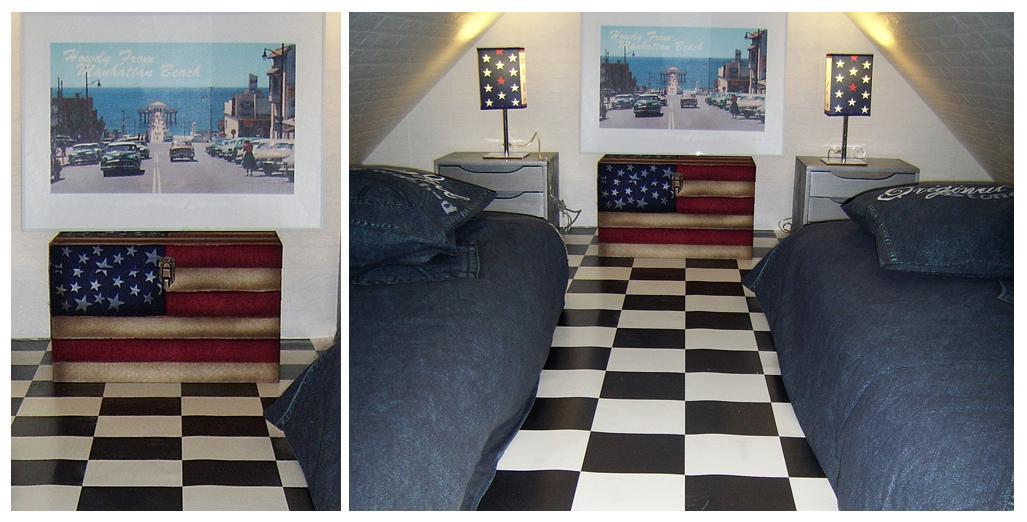 Chambre en mezzanine avec 2 lits de 90 cm du gite 50's Happy Days