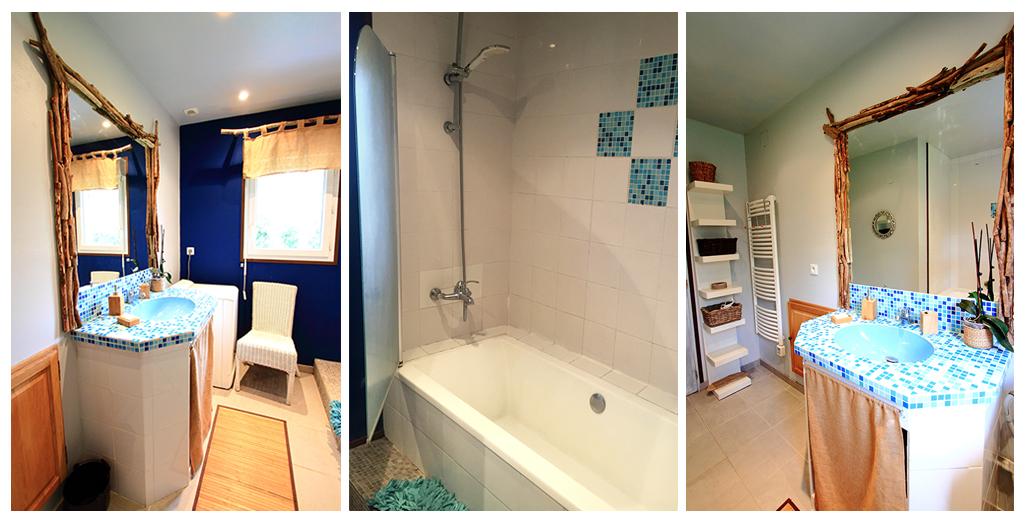 Salle de bain du gite Louisiane avec baignoire-douche