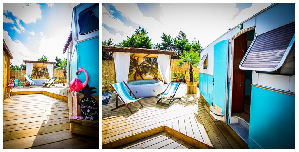 Vues de la terrasse et salon jardin du gite caravane Aloha avec spa privé en Normandie